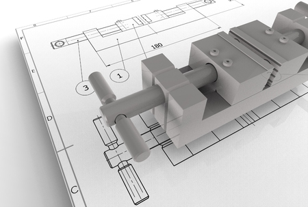 3d illustration of the mechanical drawing with detail