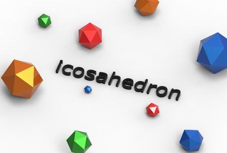 solid figure: 3d illustrazione di icosahedron