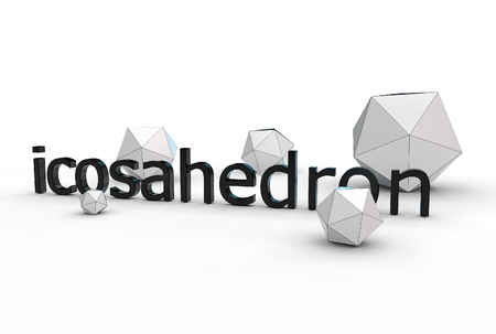 3d illustration of icosahedron isolated on white Banco de Imagens - 83418496
