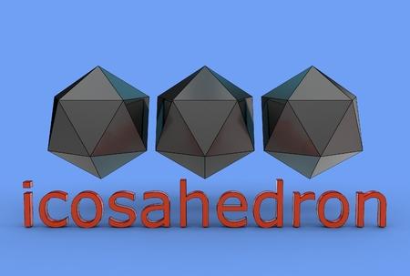 3d illustration of icosahedron isolated on blue Banco de Imagens