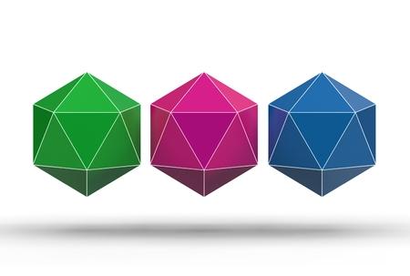3d illustration of icosahedron isolated on white