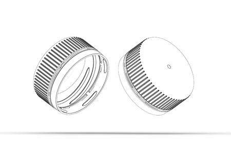 白で隔離するプラスチック製のボトルの 3 d イラストレーション