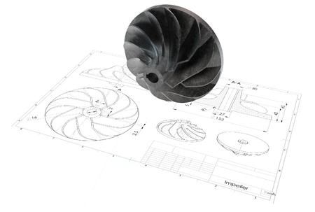 3d illustratie van turbo impeller