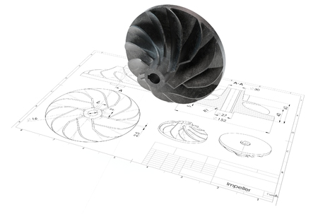 3d illustration of turbo impeller