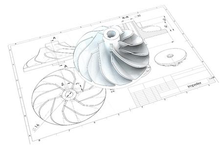Illustration 3d des Turboflügelrades Standard-Bild - 91119560