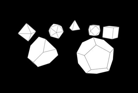 3d illustration of platonic solids isolated on black Banco de Imagens