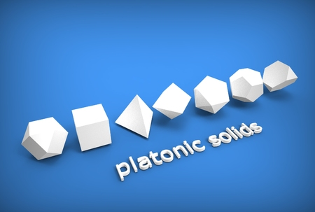 3d illustration of platonic solids isolated on blue