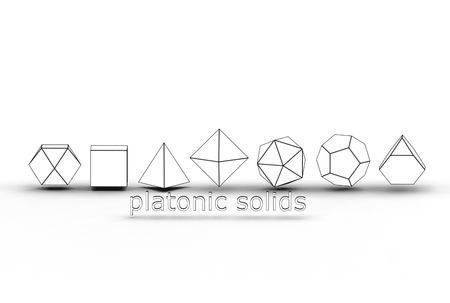 3d illustration of platonic solids isolated on white