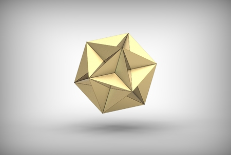 3d illustration of great dodecahedron isolated on white