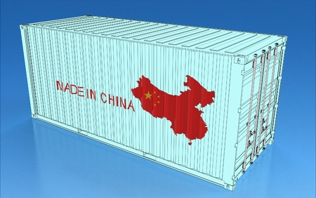 3d illustration of china container isolated on blue