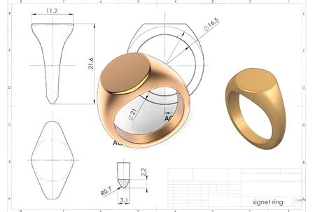 3d illustration of signet ring