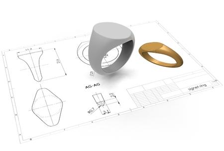 3d ilustración de anillo de anillo