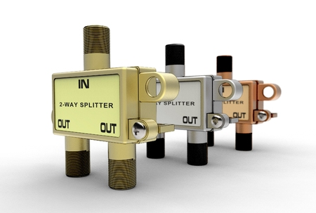 3d illustration of TV cable splitter isolated on white