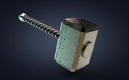 3d illustration of a hammer isolated on gray