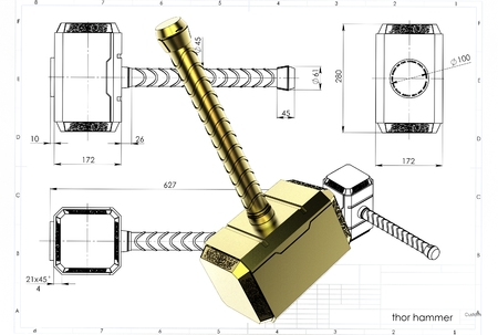 3d illustration of a hammer Stock Photo
