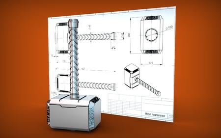 3d illustration of a hammer Standard-Bild