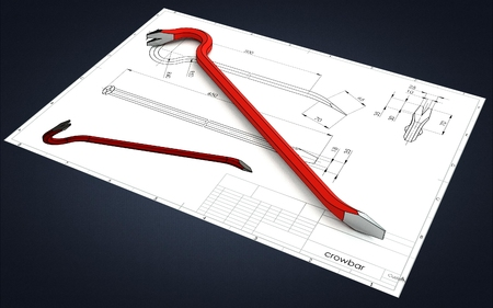 3d illustration of a crowbar