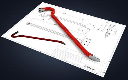 3d illustration of a crowbar