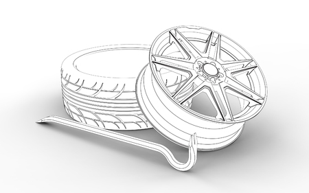 3d illustration of a tire fitting equipment isolated on white