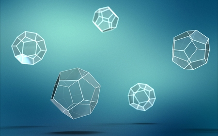 3d illustration of dodecahedron isolated on blue background Stock fotó - 109843651