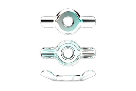 3D illustration of stamped wing nut isolated on white