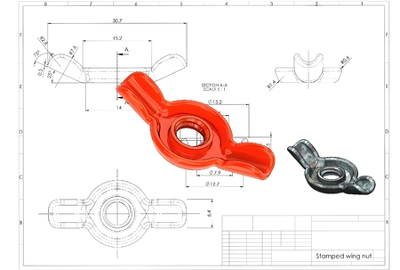 3d illustration of stamped wing nut above engineering drawing