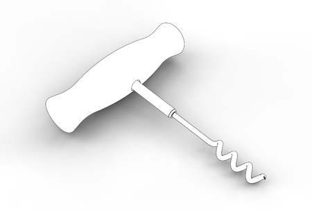 3d illustration of corkscrew isolated on white background