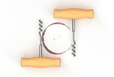 3d illustration of corkscrew isolated on white background