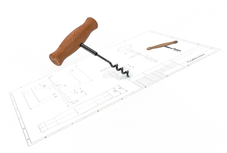 3d illustration of corkscrew above engineering drawing