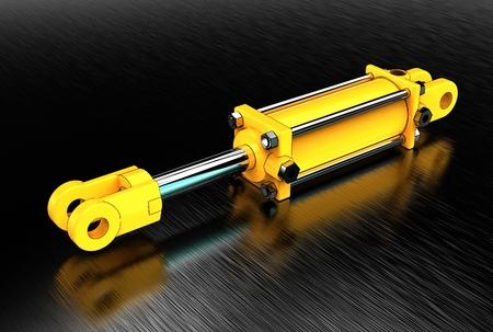 3d illustration of hydraulic cylinder