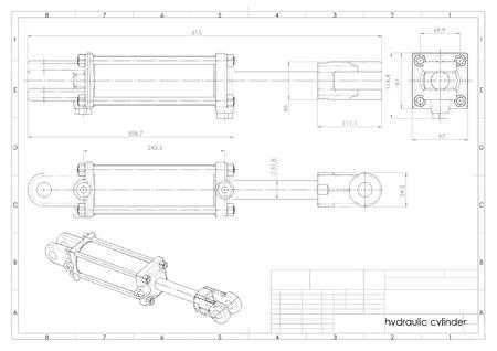 3D-Darstellung des Hydraulikzylinders über der technischen Konstruktionszeichnung Standard-Bild