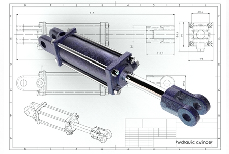 3d illustration of hydraulic cylinder above technical engineering drawing