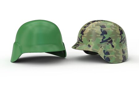 3d illustration of military helmet isolated on different background