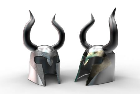 3d illustration of medieval viking helmet isolated