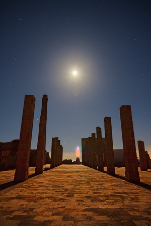 tunafish: A Bright Moon enlightens the pillars of the old tunafish factory of Vendicari.