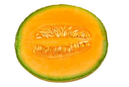pulp: Cantaloup melon half with pulp and seeds