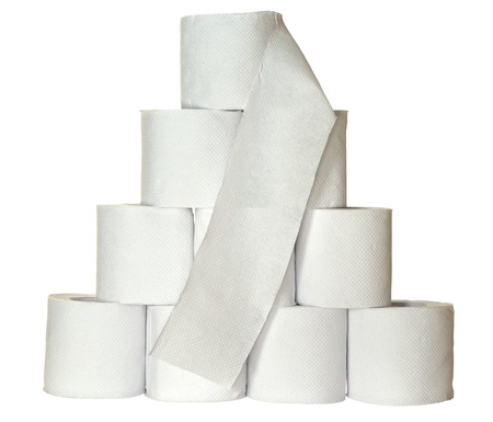toilet paper: A pyramid made of ten rolls of toiletpaper  Stock Photo