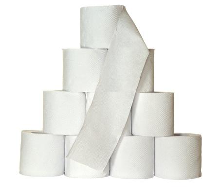 papel higienico: Una pir�mide de diez rollos de toiletpaper