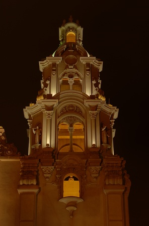 miraflores: A historical churchs steeple at Parque Kennedy in the main tourist district Miraflores (Lima, Peru) photographed at night