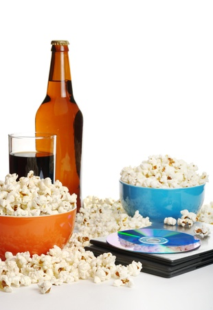 Movie night at home: Popcorn, softdrink, beer and DVD photo