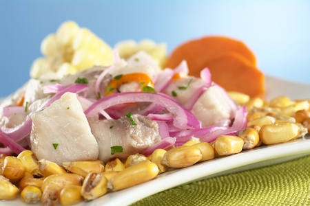 peruvian: Peruvian-style ceviche made out of raw mahi-mahi fish (Spanish: perico), red onions and aji (Peruvian hot pepper) and served with roasted corn (cancha) and cooked corn cob as well as cooked sweet potato (Selective Focus, Focus on the fish on the left) Stock Photo