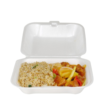 Chinese take-away food: Fried rice sweet and sour with pineapple and chicken (Isolated on White) Stock Photo - 9088227