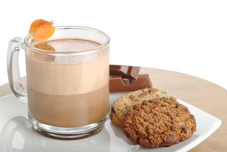 Hot Chocolate in Glass with Chocolate Chip Cookies and Chocolate Bar (Selective Focus) photo
