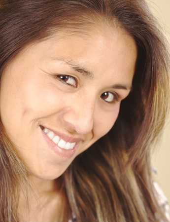 peruvian ethnicity: Smiling beautiful young Peruvian woman (Selective Focus, Focus on the right eye) Stock Photo
