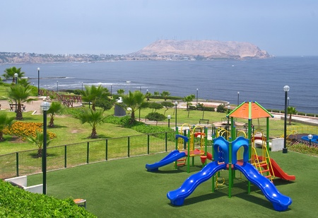 miraflores: Playground on a sunny day in a park on the Costa Verde (Green Coast) in Miraflores, Lima, Peru
