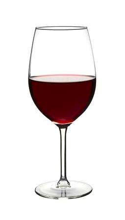 full red: Vino rosso nel calice di vino su bianco
