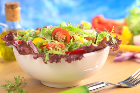 Fresh mixed salad from red-leaf lettuce, curly endive (frisee), cherry tomato, red onion, cucumber and red and yellow bell pepper in white bowl (Selective Focus, Focus on the cherry tomato half)  photo