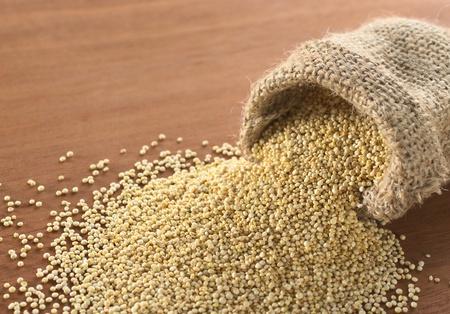 quinua: Granos de quinoa blanca RAW en saco de yute en madera. Quinoa se cultiva en los Andes y es valorada por su alto contenido en prote�nas valor nutricional y contenido (enfoque selectivo, enfoque sobre la quinoa en la apertura del saco frente)