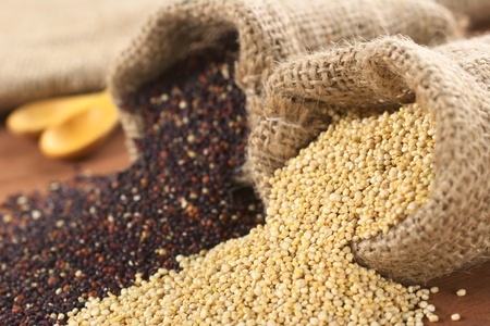 jute: Raw red and white quinoa grains in jute sack on wood. Quinoa is grown in the Andes region  and has a high protein content and a high nutritional value (Selective Focus, Focus on the white quinoa grains at the sack opening) Stock Photo