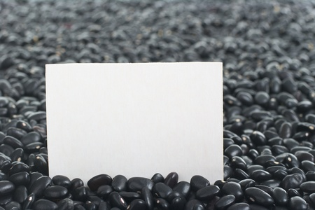 turtle bean: Raw black beans (turtle beans) with blank card (Selective Focus, Focus on the card)